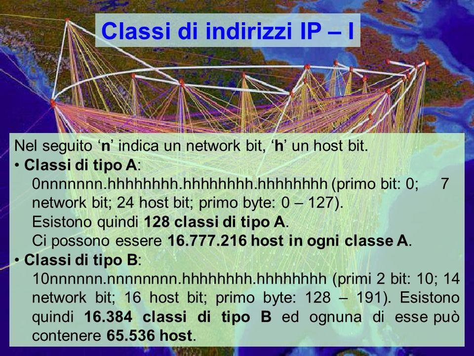 Classi di indirizzi IP – I Nel seguito n indica un network bit, h un host bit.