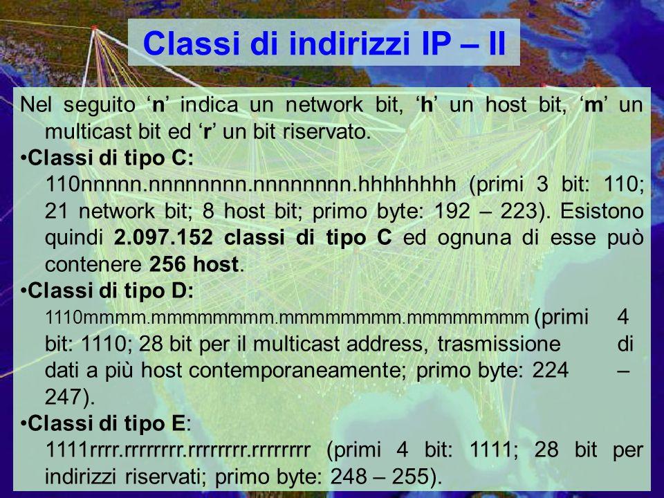 Classi di indirizzi IP – II Nel seguito n indica un network bit, h un host bit, m un multicast bit ed r un bit riservato.