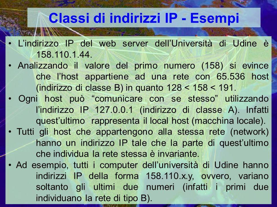 Classi di indirizzi IP - Esempi Lindirizzo IP del web server dellUniversità di Udine è 158.110.1.44.