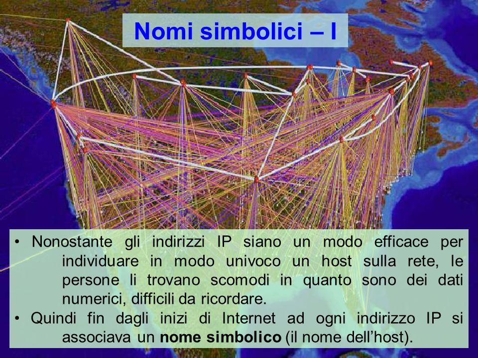 Nomi simbolici – I Nonostante gli indirizzi IP siano un modo efficace per individuare in modo univoco un host sulla rete, le persone li trovano scomodi in quanto sono dei dati numerici, difficili da ricordare.