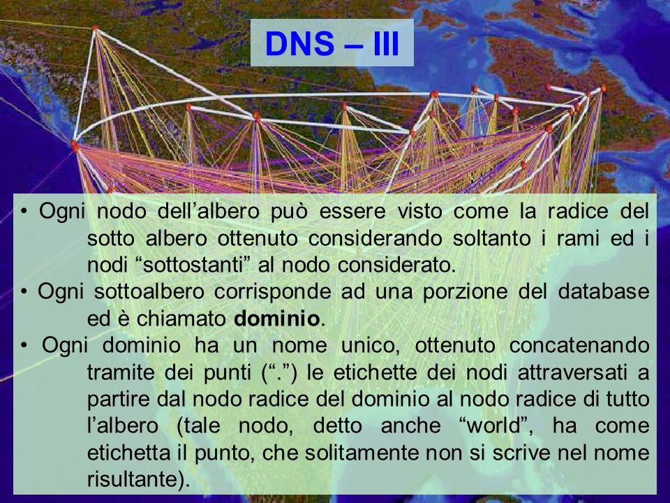 DNS – III Ogni nodo dellalbero può essere visto come la radice del sotto albero ottenuto considerando soltanto i rami ed i nodi sottostanti al nodo considerato.