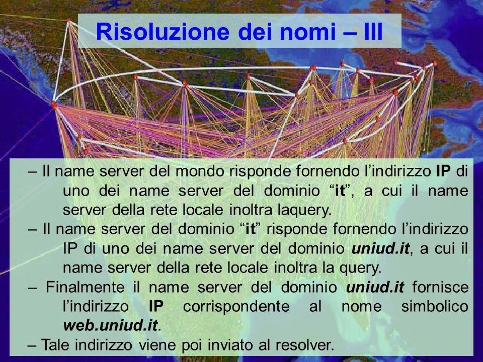 Risoluzione dei nomi – III – Il name server del mondo risponde fornendo lindirizzo IP di uno dei name server del dominio it, a cui il name server della rete locale inoltra laquery.