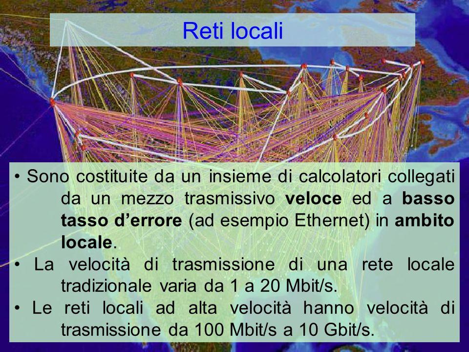 Reti locali Sono costituite da un insieme di calcolatori collegati da un mezzo trasmissivo veloce ed a basso tasso derrore (ad esempio Ethernet) in ambito locale.