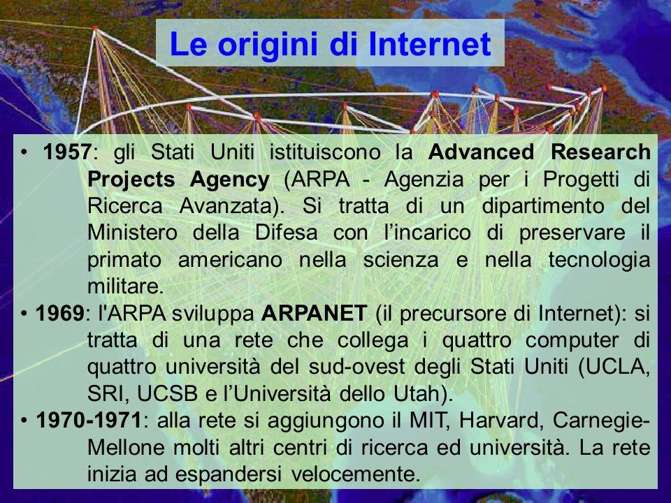 Le origini di Internet 1957: gli Stati Uniti istituiscono la Advanced Research Projects Agency (ARPA - Agenzia per i Progetti di Ricerca Avanzata).