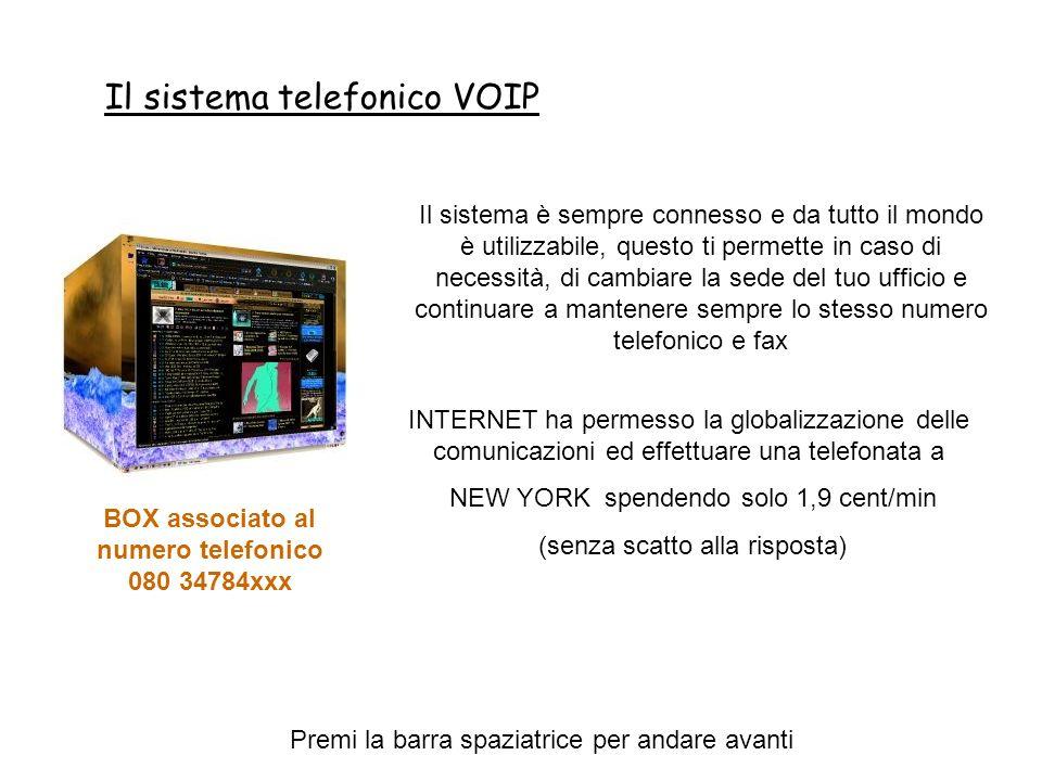 Il sistema telefonico VOIP Premi la barra spaziatrice per andare avanti Il sistema è sempre connesso e da tutto il mondo è utilizzabile, questo ti permette in caso di necessità, di cambiare la sede del tuo ufficio e continuare a mantenere sempre lo stesso numero telefonico e fax INTERNET ha permesso la globalizzazione delle comunicazioni ed effettuare una telefonata a NEW YORK spendendo solo 1,9 cent/min (senza scatto alla risposta) BOX associato al numero telefonico 080 34784xxx