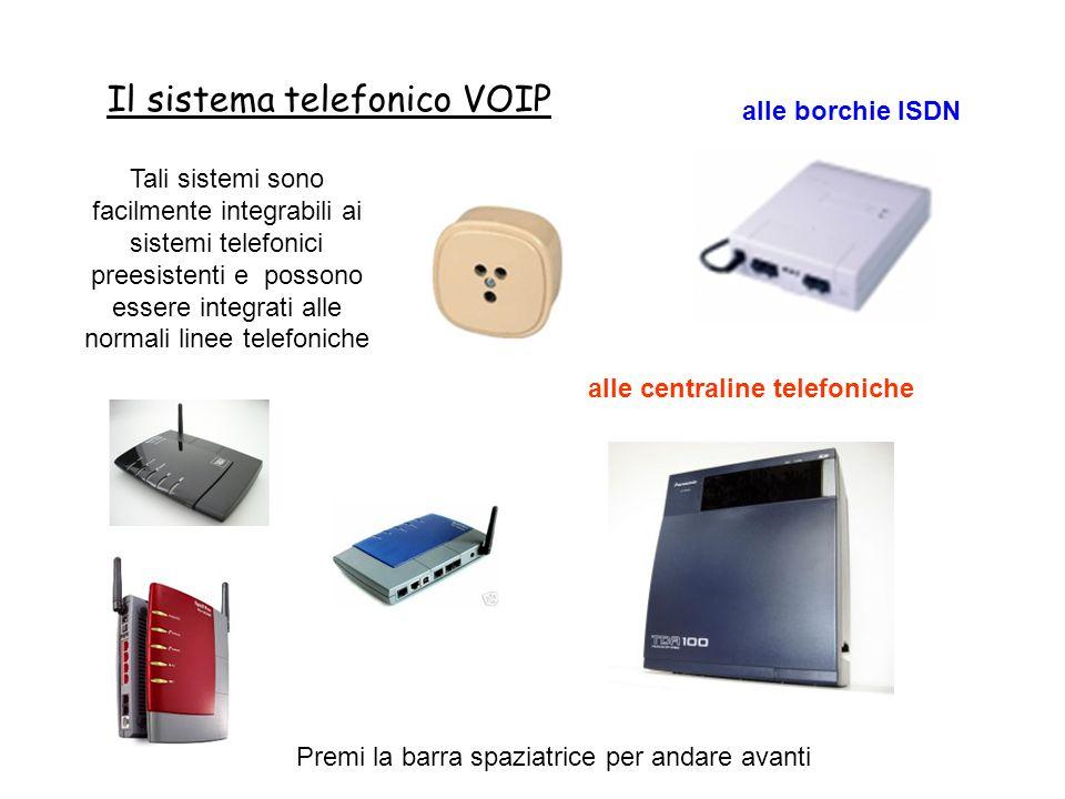 Il sistema telefonico VOIP Premi la barra spaziatrice per andare avanti Tali sistemi sono facilmente integrabili ai sistemi telefonici preesistenti e possono essere integrati alle normali linee telefoniche alle borchie ISDN alle centraline telefoniche