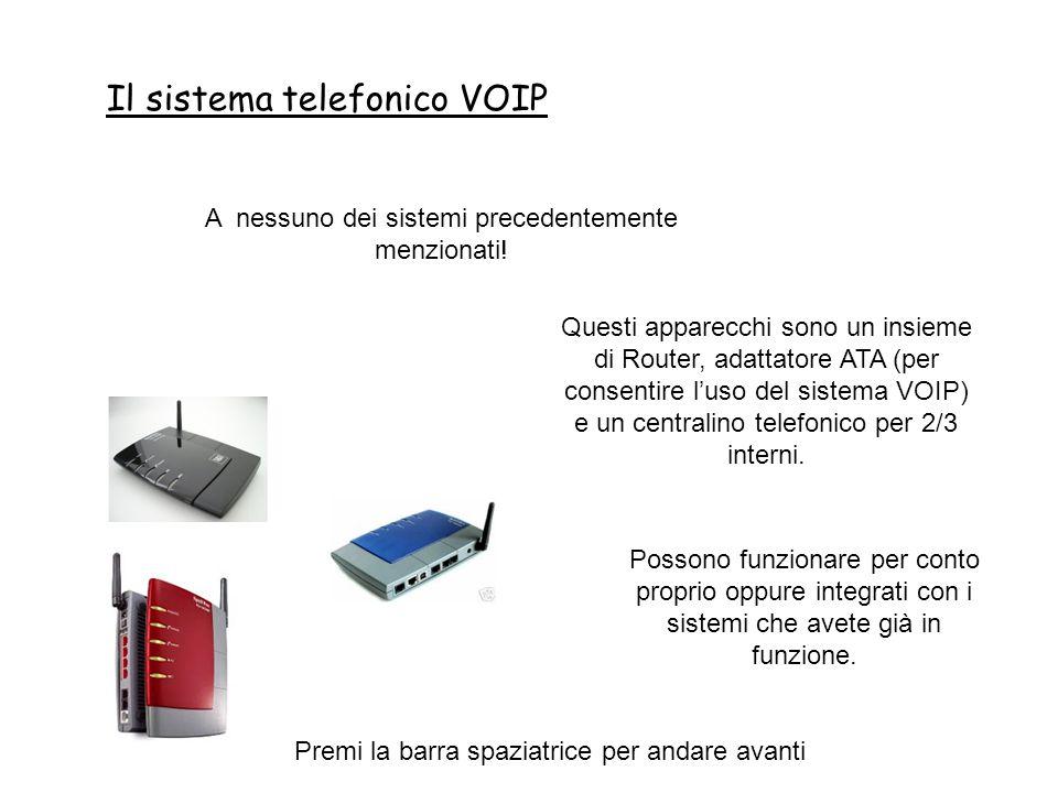 Il sistema telefonico VOIP Premi la barra spaziatrice per andare avanti A nessuno dei sistemi precedentemente menzionati.