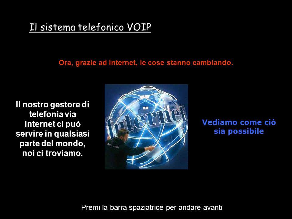 Il sistema telefonico VOIP Premi la barra spaziatrice per andare avanti Si sottoscrive un contratto, con un gestore telefonico che offre i suoi servizi di telefonia via INTERNET
