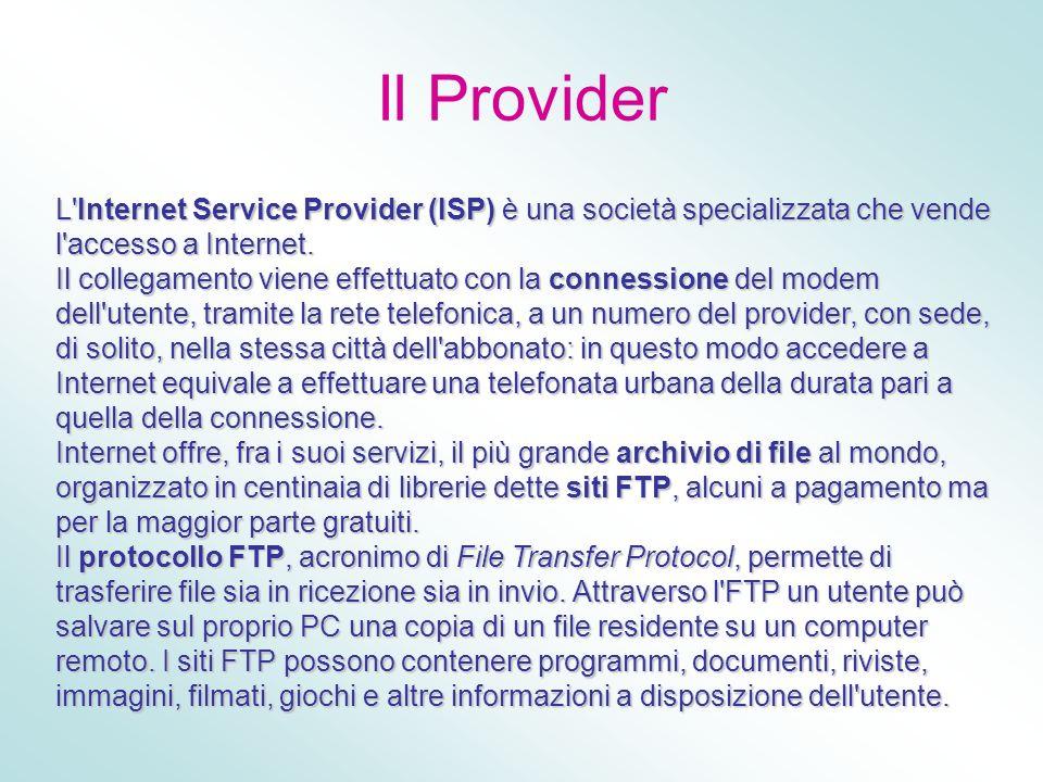 Il Provider L'Internet Service Provider (ISP) è una società specializzata che vende l'accesso a Internet. Il collegamento viene effettuato con la conn