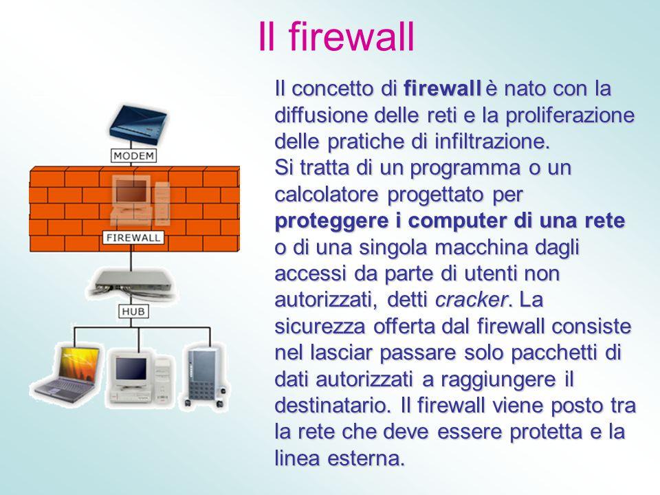 Il firewall Il concetto di firewall è nato con la diffusione delle reti e la proliferazione delle pratiche di infiltrazione. Si tratta di un programma
