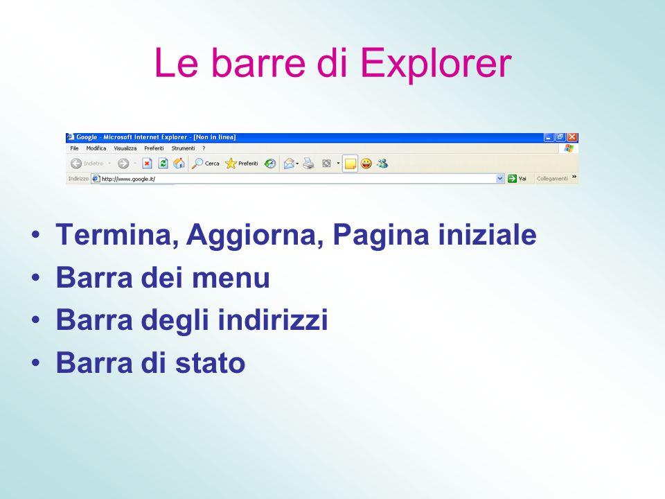 Le barre di Explorer Termina, Aggiorna, Pagina iniziale Barra dei menu Barra degli indirizzi Barra di stato