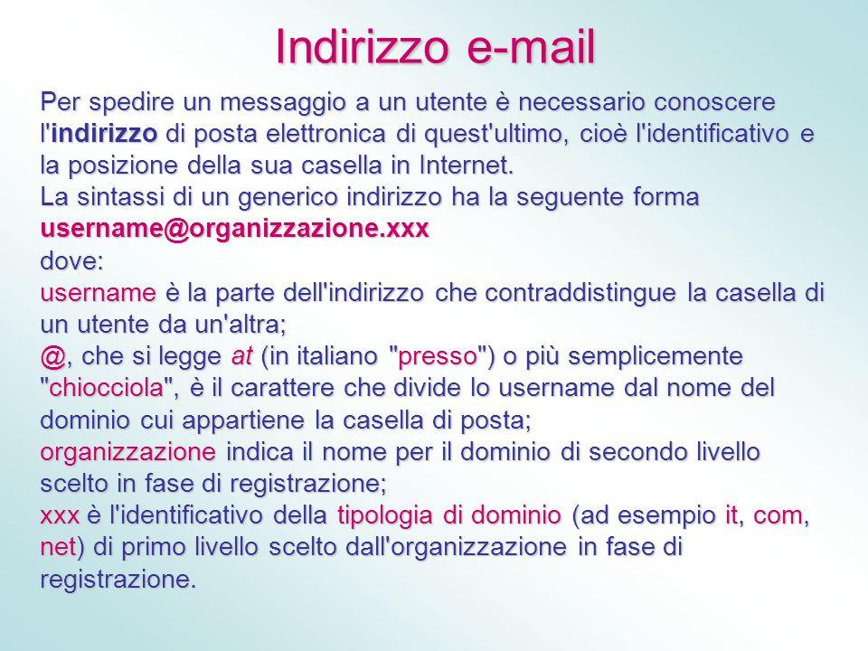 Indirizzo e-mail Per spedire un messaggio a un utente è necessario conoscere l'indirizzo di posta elettronica di quest'ultimo, cioè l'identificativo e