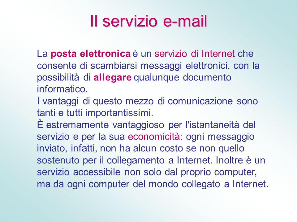 Il servizio e-mail La posta elettronica è un servizio di Internet che consente di scambiarsi messaggi elettronici, con la possibilità di allegare qual