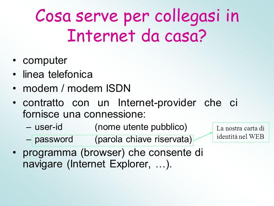 Cosa serve per collegasi in Internet da casa? computer linea telefonica modem / modem ISDN contratto con un Internet-provider che ci fornisce una conn