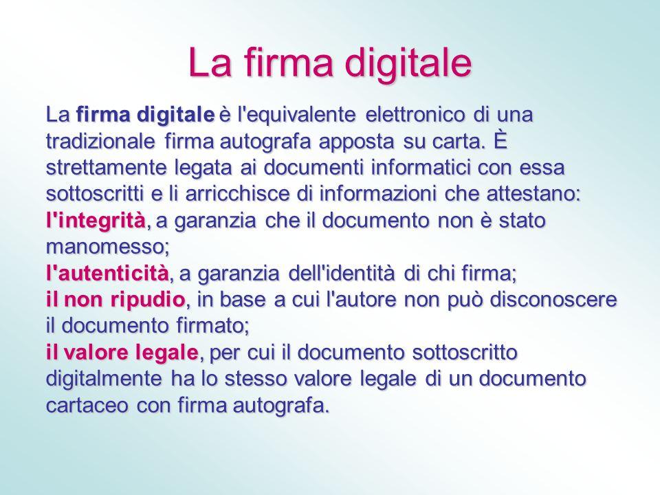 La firma digitale La firma digitale è l'equivalente elettronico di una tradizionale firma autografa apposta su carta. È strettamente legata ai documen