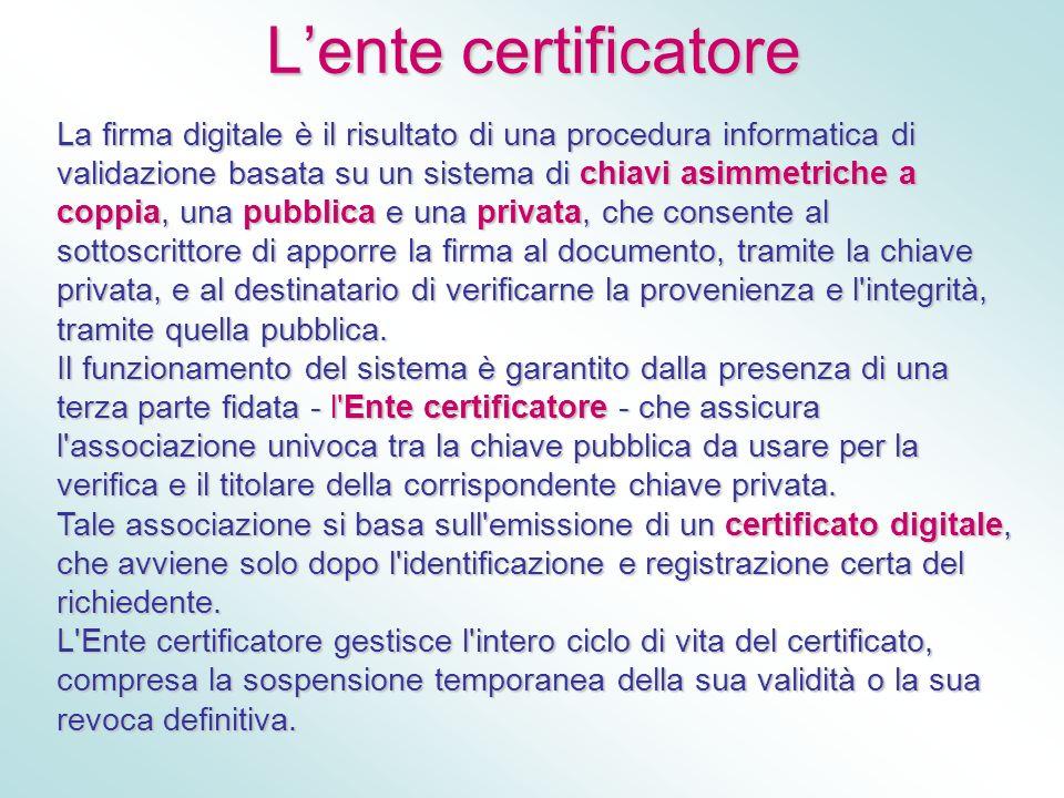 Lente certificatore La firma digitale è il risultato di una procedura informatica di validazione basata su un sistema di chiavi asimmetriche a coppia,