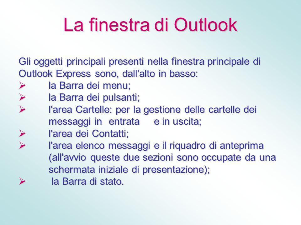 La finestra di Outlook Gli oggetti principali presenti nella finestra principale di Outlook Express sono, dall'alto in basso: la Barra dei menu; la Ba