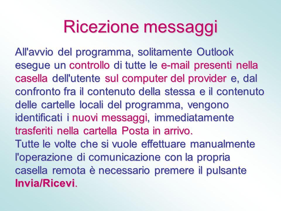 Ricezione messaggi All'avvio del programma, solitamente Outlook esegue un controllo di tutte le e-mail presenti nella casella dell'utente sul computer
