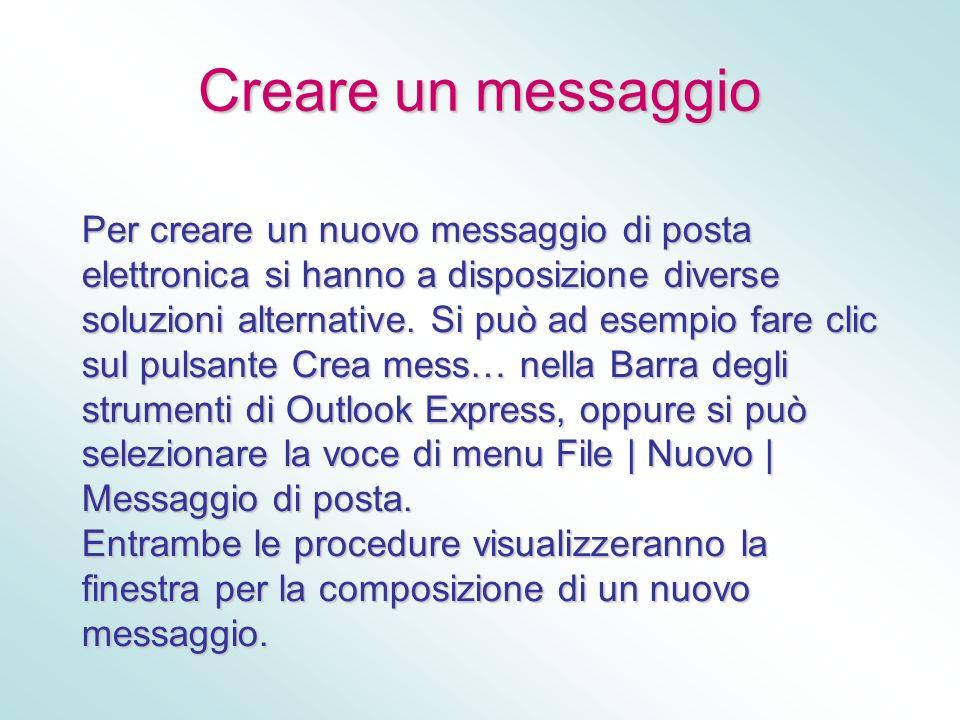 Creare un messaggio Per creare un nuovo messaggio di posta elettronica si hanno a disposizione diverse soluzioni alternative. Si può ad esempio fare c