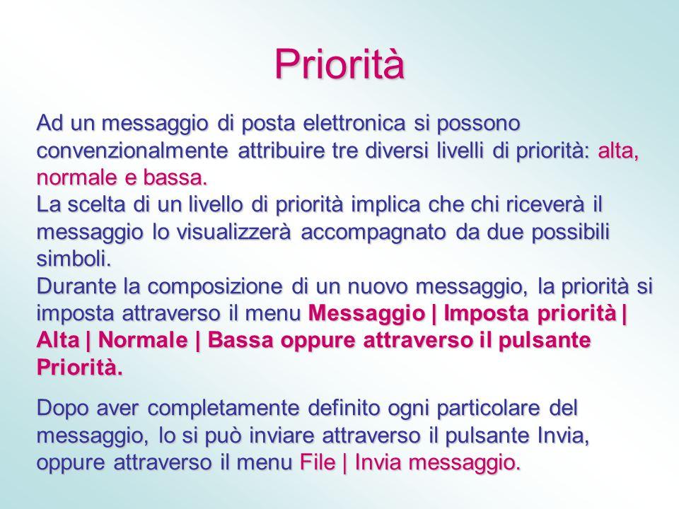 Priorità Ad un messaggio di posta elettronica si possono convenzionalmente attribuire tre diversi livelli di priorità: alta, normale e bassa. La scelt
