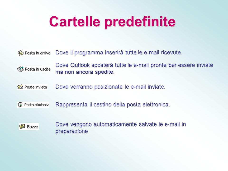 Cartelle predefinite Cartelle predefinite Dove il programma inserirà tutte le e-mail ricevute. Dove Outlook sposterà tutte le e-mail pronte per essere