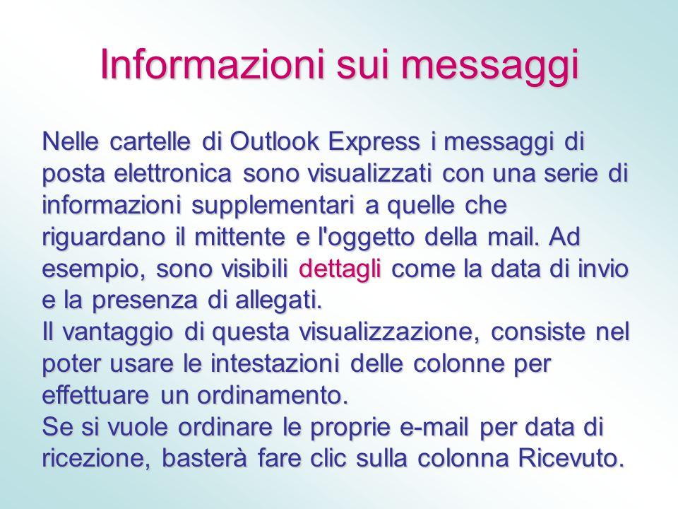 Informazioni sui messaggi Nelle cartelle di Outlook Express i messaggi di posta elettronica sono visualizzati con una serie di informazioni supplement