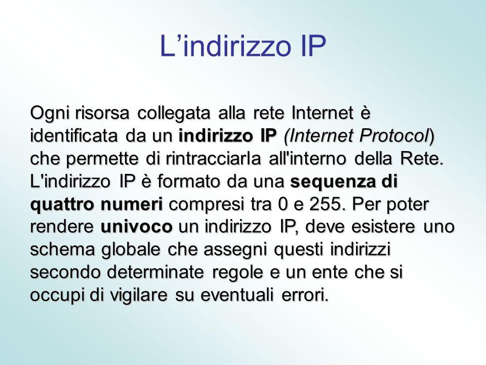 Lindirizzo IP Ogni risorsa collegata alla rete Internet è identificata da un indirizzo IP (Internet Protocol) che permette di rintracciarla all'intern