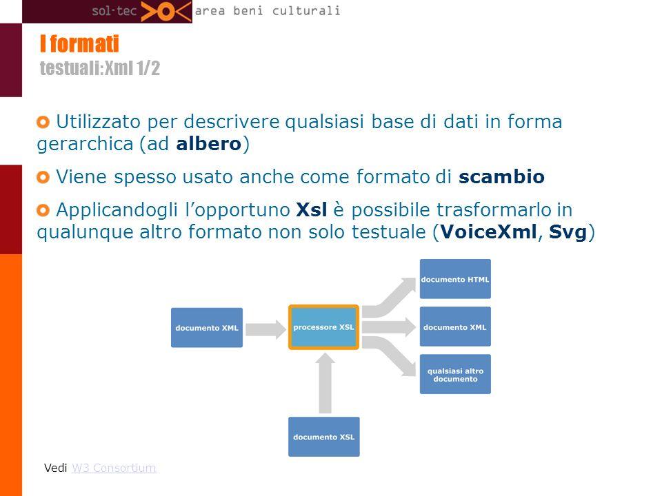 I formati testuali: Xml 1/2 Utilizzato per descrivere qualsiasi base di dati in forma gerarchica (ad albero) Viene spesso usato anche come formato di scambio Applicandogli lopportuno Xsl è possibile trasformarlo in qualunque altro formato non solo testuale (VoiceXml, Svg) Vedi W3 ConsortiumW3 Consortium