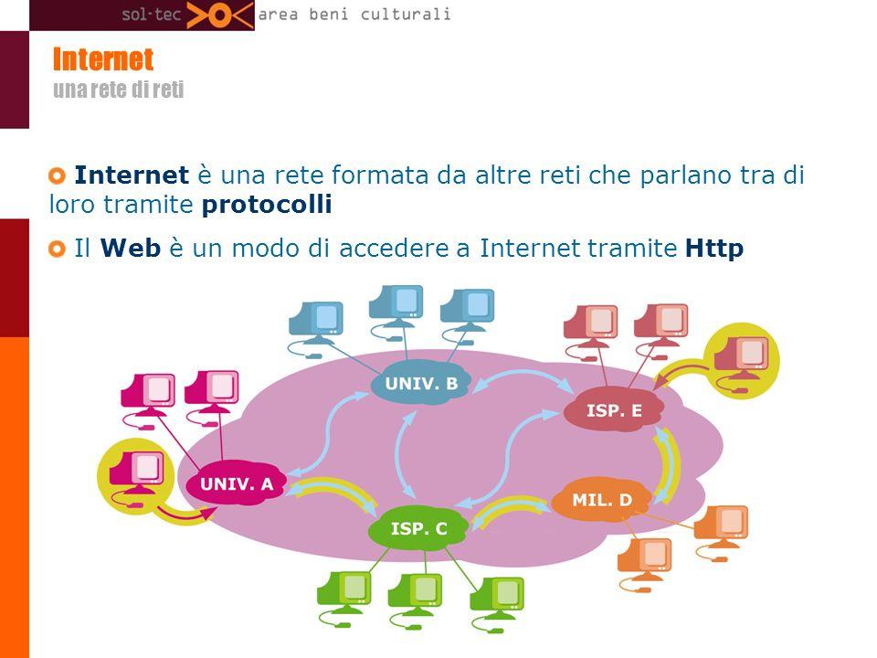 Internet una rete di reti Internet è una rete formata da altre reti che parlano tra di loro tramite protocolli Il Web è un modo di accedere a Internet tramite Http
