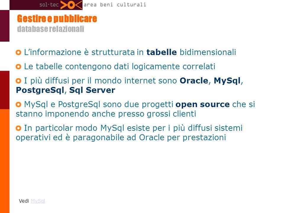 Gestire e pubblicare database relazionali Linformazione è strutturata in tabelle bidimensionali Le tabelle contengono dati logicamente correlati I più diffusi per il mondo internet sono Oracle, MySql, PostgreSql, Sql Server MySql e PostgreSql sono due progetti open source che si stanno imponendo anche presso grossi clienti In particolar modo MySql esiste per i più diffusi sistemi operativi ed è paragonabile ad Oracle per prestazioni Vedi MySqlMySql