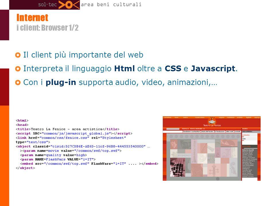 Internet i client: Browser 1/2 Il client più importante del web Interpreta il linguaggio Html oltre a CSS e Javascript.