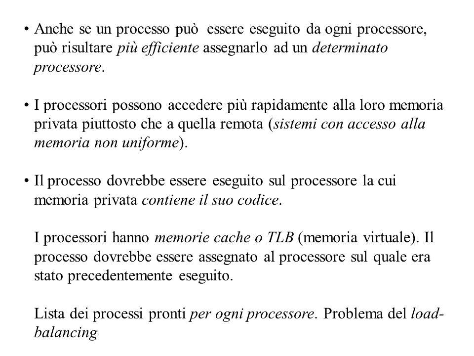 Anche se un processo può essere eseguito da ogni processore, può risultare più efficiente assegnarlo ad un determinato processore.