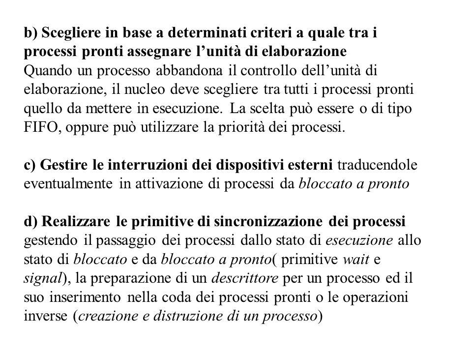 b) Scegliere in base a determinati criteri a quale tra i processi pronti assegnare l'unità di elaborazione Quando un processo abbandona il controllo dell'unità di elaborazione, il nucleo deve scegliere tra tutti i processi pronti quello da mettere in esecuzione.