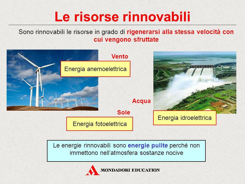 Le risorse rinnovabili Sono rinnovabili le risorse in grado di rigenerarsi alla stessa velocità con cui vengono sfruttate Energia anemoelettrica Vento Le energie rinnovabili sono energie pulite perché non immettono nell'atmosfera sostanze nocive Energia fotoelettrica Sole Energia idroelettrica Acqua