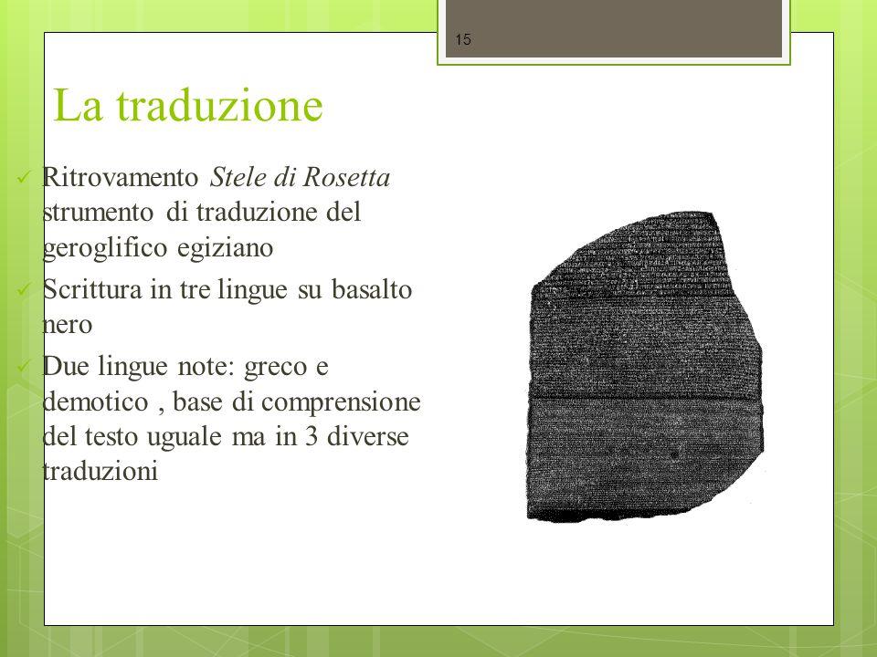 La traduzione Ritrovamento Stele di Rosetta strumento di traduzione del geroglifico egiziano Scrittura in tre lingue su basalto nero Due lingue note:
