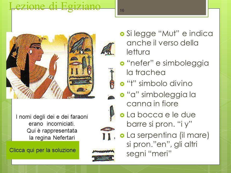 """Lezione di Egiziano  Si legge """"Mut"""" e indica anche il verso della lettura  """"nefer"""" e simboleggia la trachea  """"t"""" simbolo divino  """"a"""" simboleggia l"""