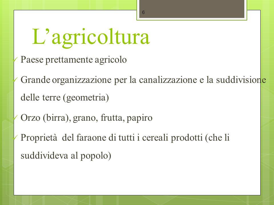 L'agricoltura Paese prettamente agricolo Grande organizzazione per la canalizzazione e la suddivisione delle terre (geometria) Orzo (birra), grano, fr
