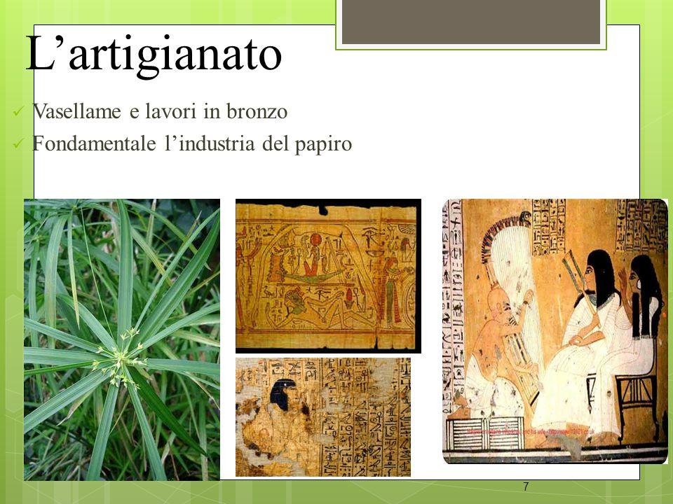 L'artigianato Vasellame e lavori in bronzo Fondamentale l'industria del papiro 7