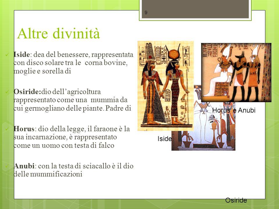 Altre divinità Iside: dea del benessere, rappresentata con disco solare tra le corna bovine, moglie e sorella di Osiride:dio dell'agricoltura rapprese
