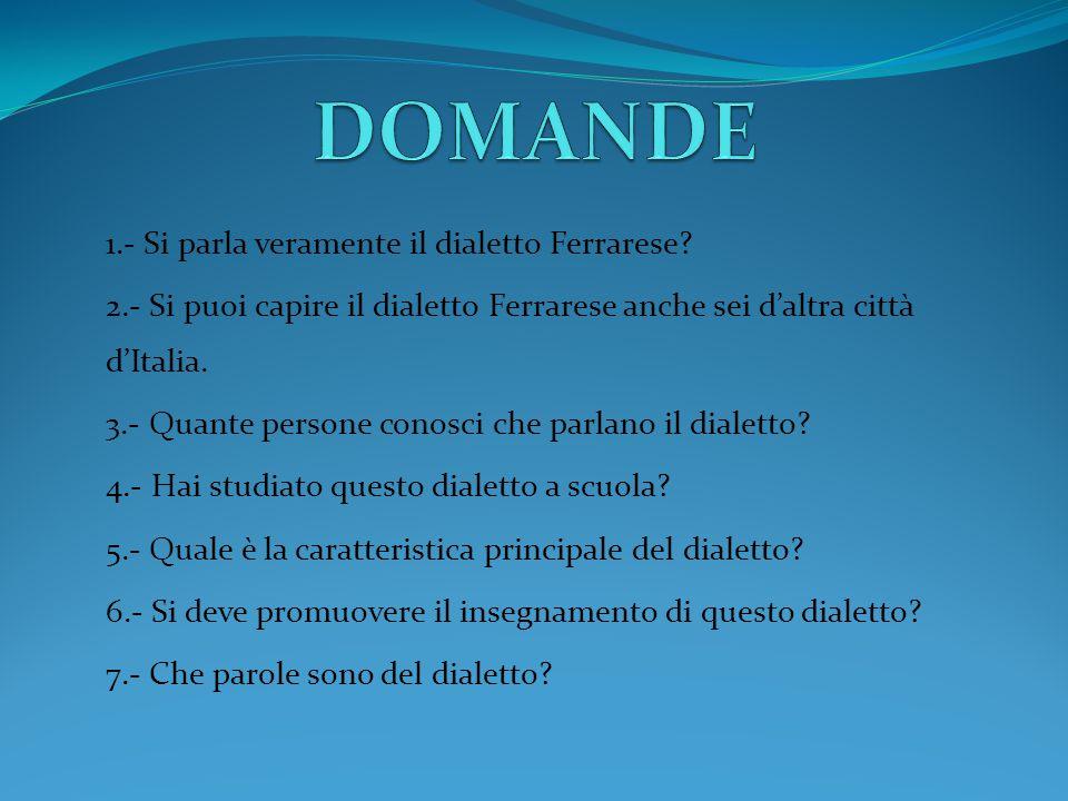 1.- Si parla veramente il dialetto Ferrarese.