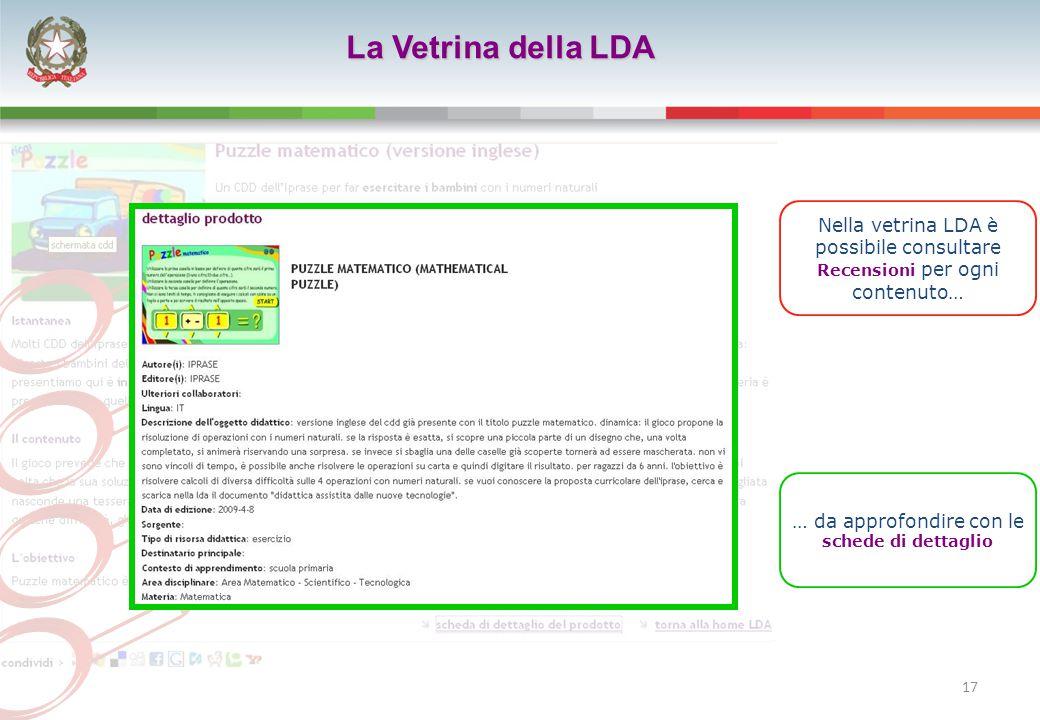 17 La Vetrina della LDA Nella vetrina LDA è possibile consultare Recensioni per ogni contenuto… … da approfondire con le schede di dettaglio