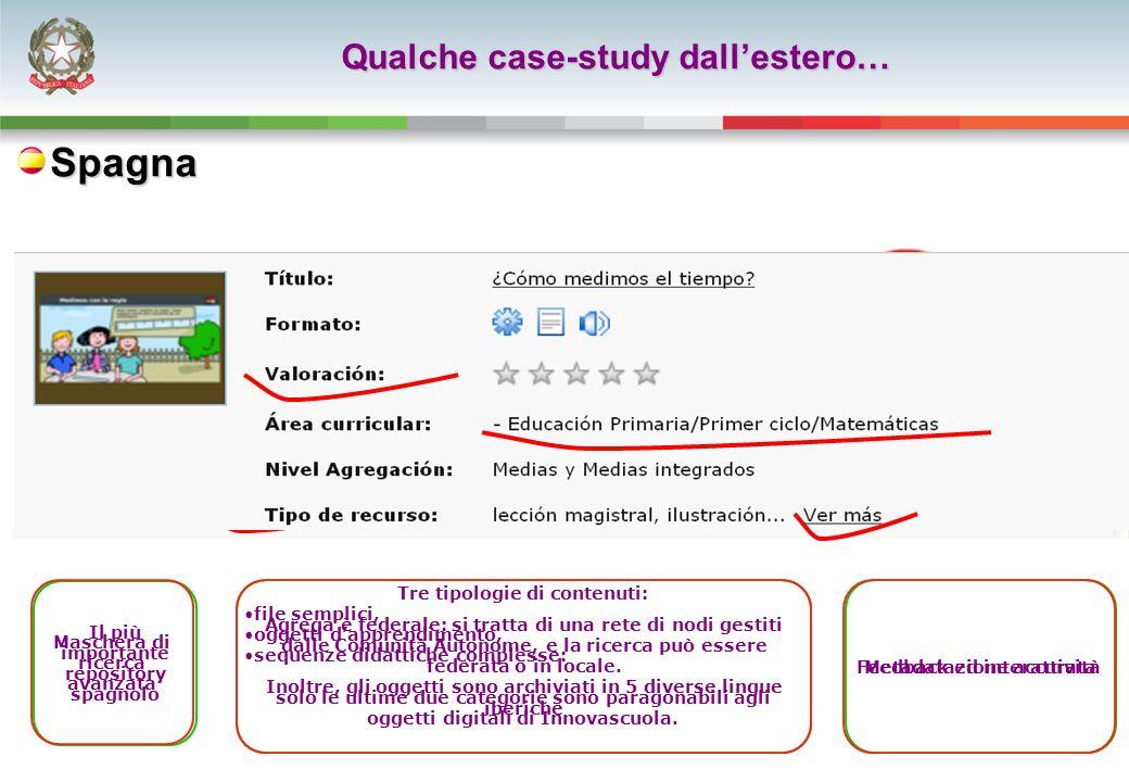 Qualche case-study dall'estero… Il più importante repository spagnolo Tre tipologie di contenuti: file semplici, oggetti d'apprendimento, sequenze didattiche complesse: solo le ultime due categorie sono paragonabili agli oggetti digitali di Innovascuola.