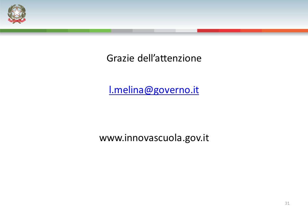 31 Grazie dell'attenzione l.melina@governo.it www.innovascuola.gov.it