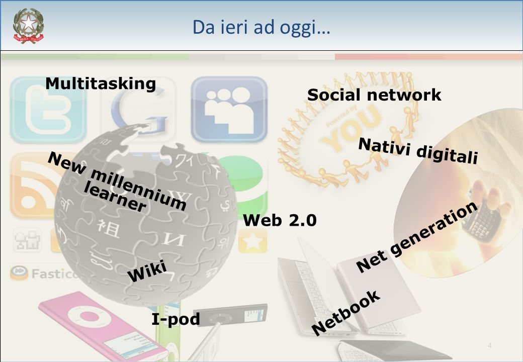 4 Da ieri ad oggi… Multitasking New millennium learner Social network Net generation Nativi digitali Netbook Web 2.0 Wiki I-pod