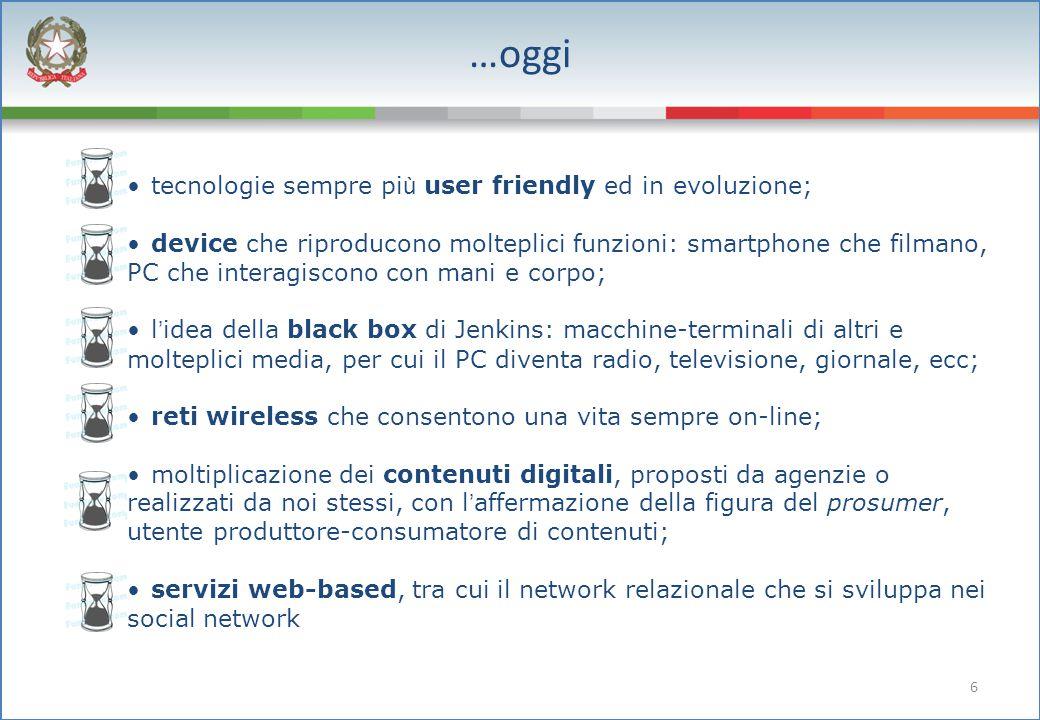 6 …oggi tecnologie sempre pi ù user friendly ed in evoluzione; device che riproducono molteplici funzioni: smartphone che filmano, PC che interagiscon