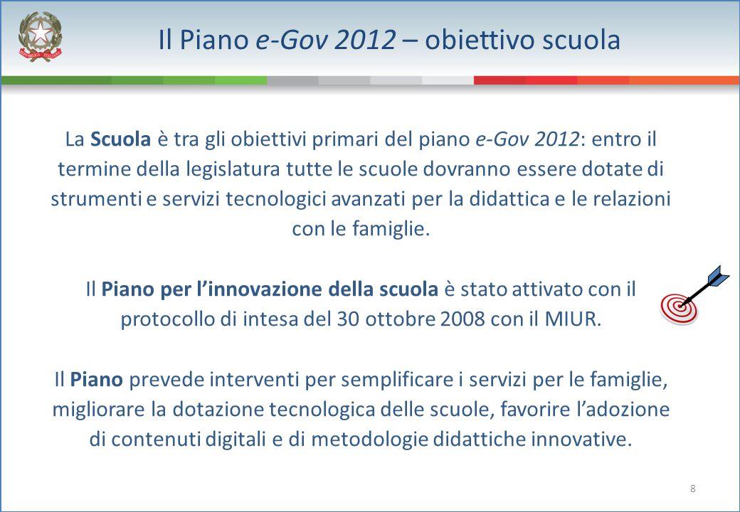 8 Il Piano e-Gov 2012 – obiettivo scuola La Scuola è tra gli obiettivi primari del piano e-Gov 2012: entro il termine della legislatura tutte le scuol