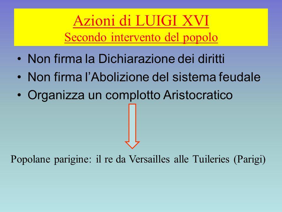 Azioni di LUIGI XVI Secondo intervento del popolo Non firma la Dichiarazione dei diritti Non firma l'Abolizione del sistema feudale Organizza un compl