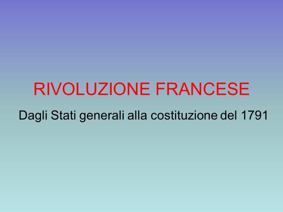 RIVOLUZIONE FRANCESE Dagli Stati generali alla costituzione del 1791