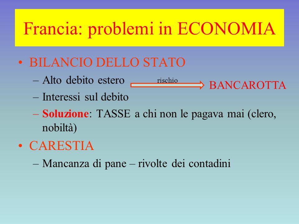 Francia: problemi in ECONOMIA BILANCIO DELLO STATO –Alto debito estero –Interessi sul debito –Soluzione: TASSE a chi non le pagava mai (clero, nobiltà