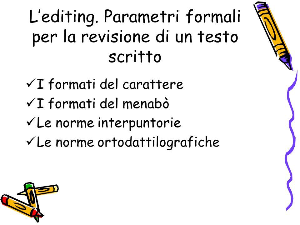 L'editing. Parametri formali per la revisione di un testo scritto I formati del carattere I formati del menabò Le norme interpuntorie Le norme ortodat